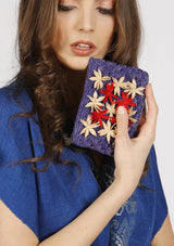 Luxury Raffia handmade occasion Clutch blue