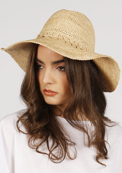 British designer raffia panama hat with lace band