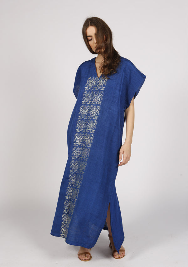 Luxury beachwear kaftan dress blue