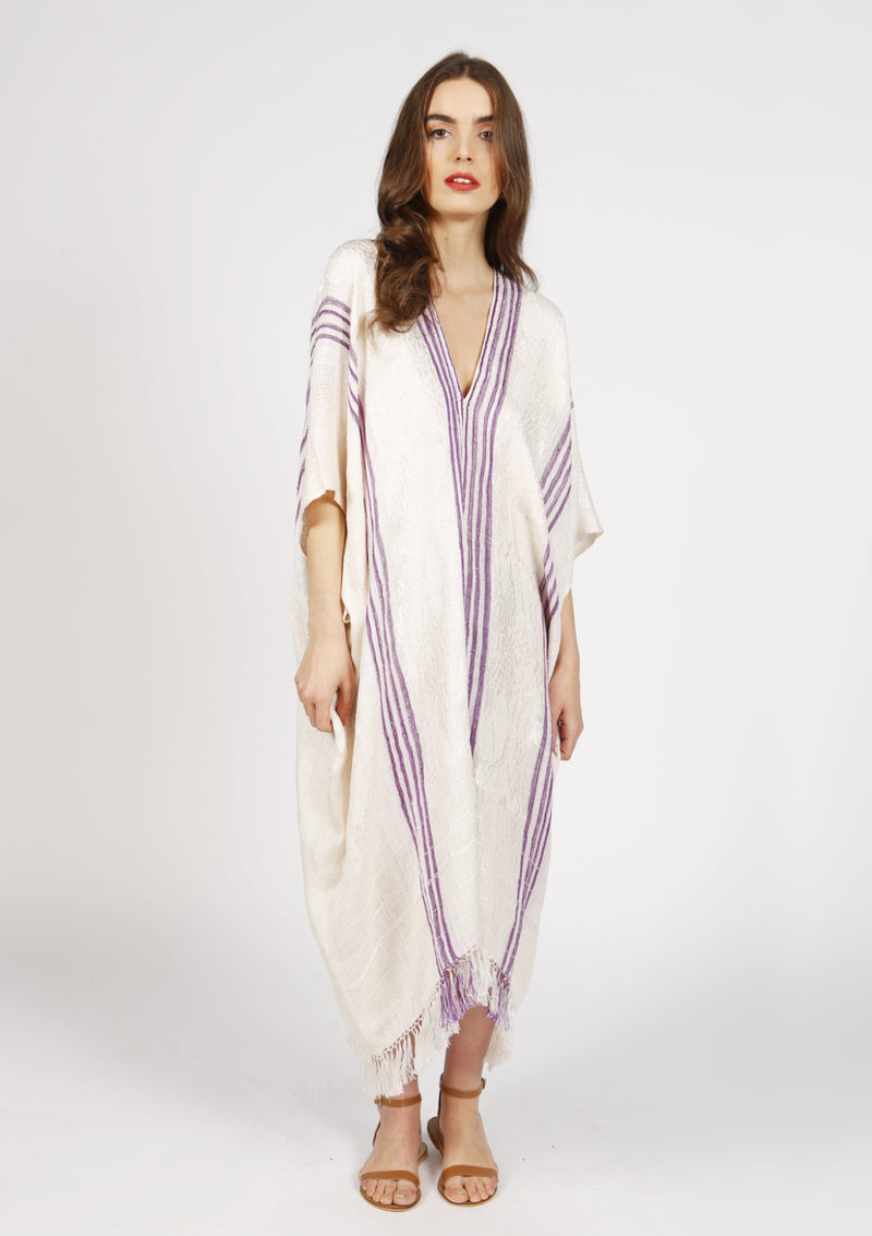 striped white purple kaftan cover-up dress deep v neck