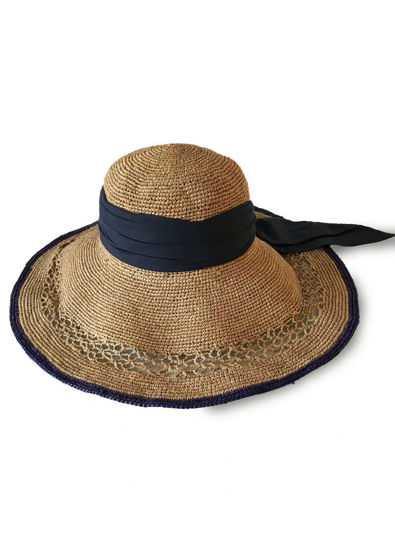 Raffia sun hat for luxury travel