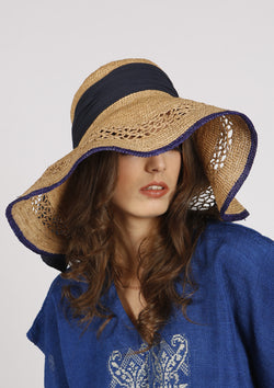 Large designer raffia hat for the beach