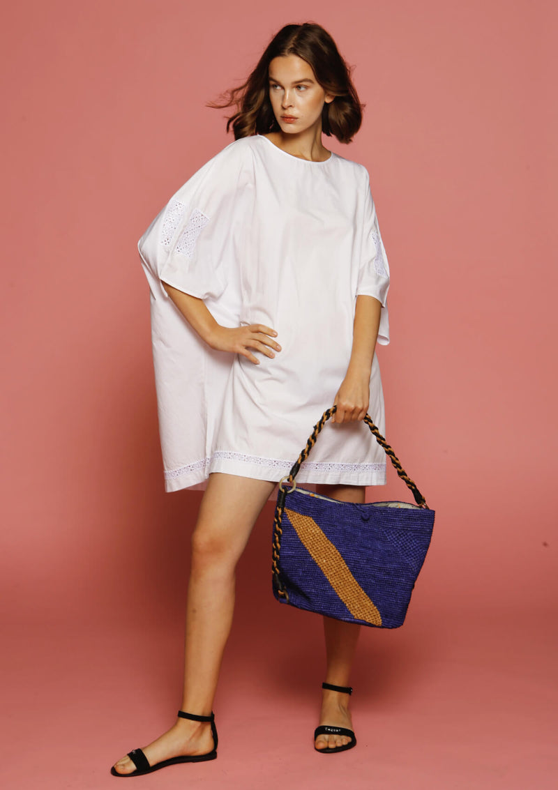 designer affordable raffia blue beach bag ethically made