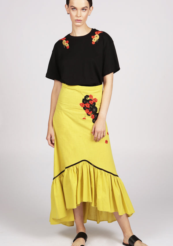 midi cotton skirt with ruffle hem