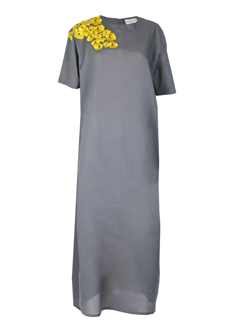 ENIA embroidered maxi cotton dress in grey
