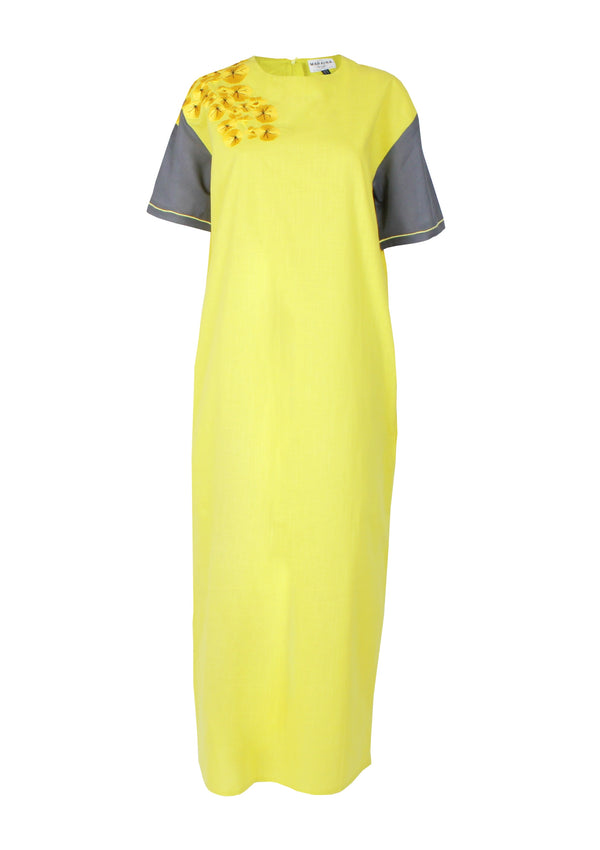 ENIA embroidered maxi cotton dress in yellow