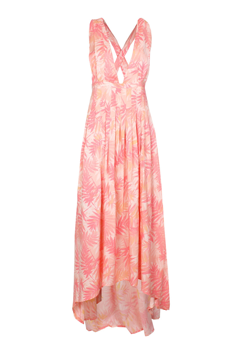 VICTORIA pink printed floral pleated dip-hem maxi cocktail dress