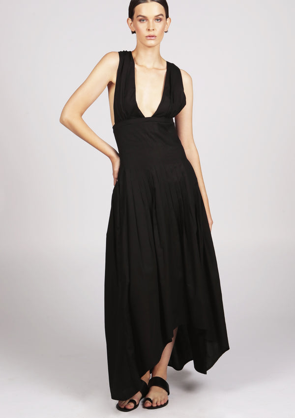 VICTORIA black pleated dip-hem maxi evening dress