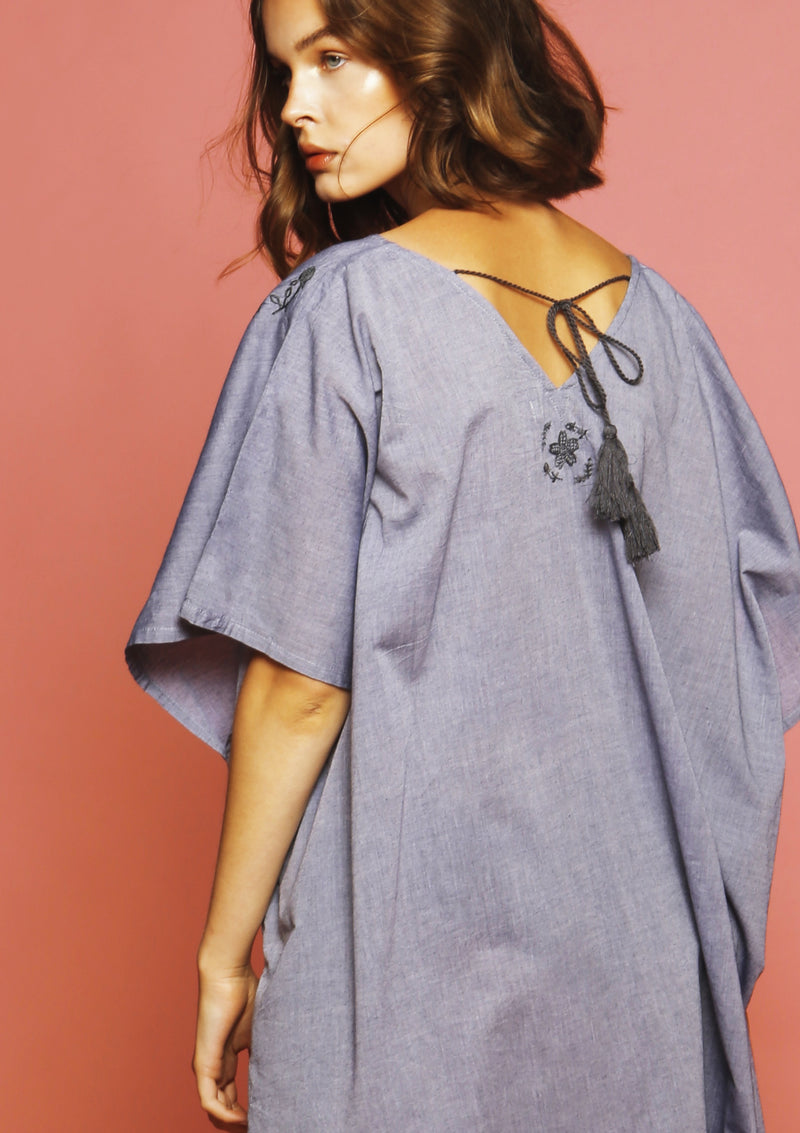 grey cover-up dress with handmade embroidery