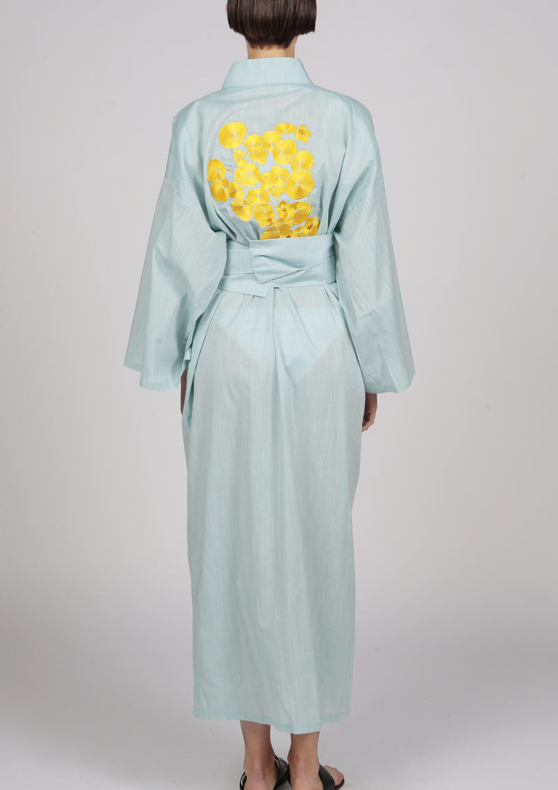 designer kimono jacket with large belt and gold embroidery