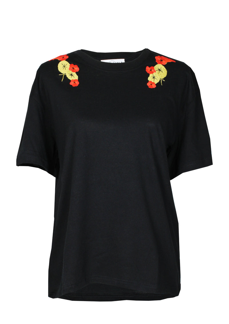 black t-shirt with handmade embroidery