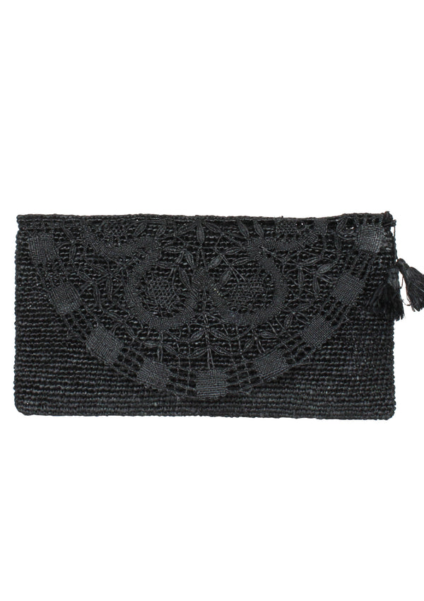 VALENTINA black handmade lace raffia evening clutch bag