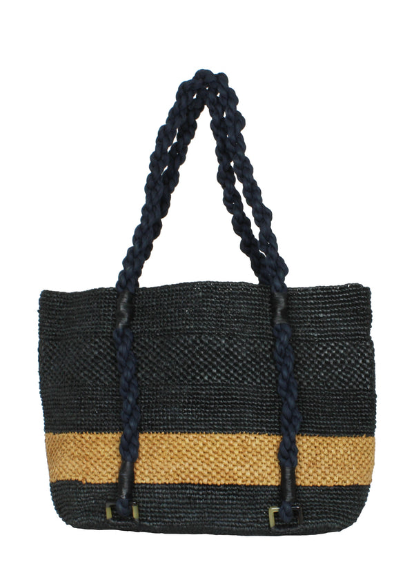 black raffia designer tote bag