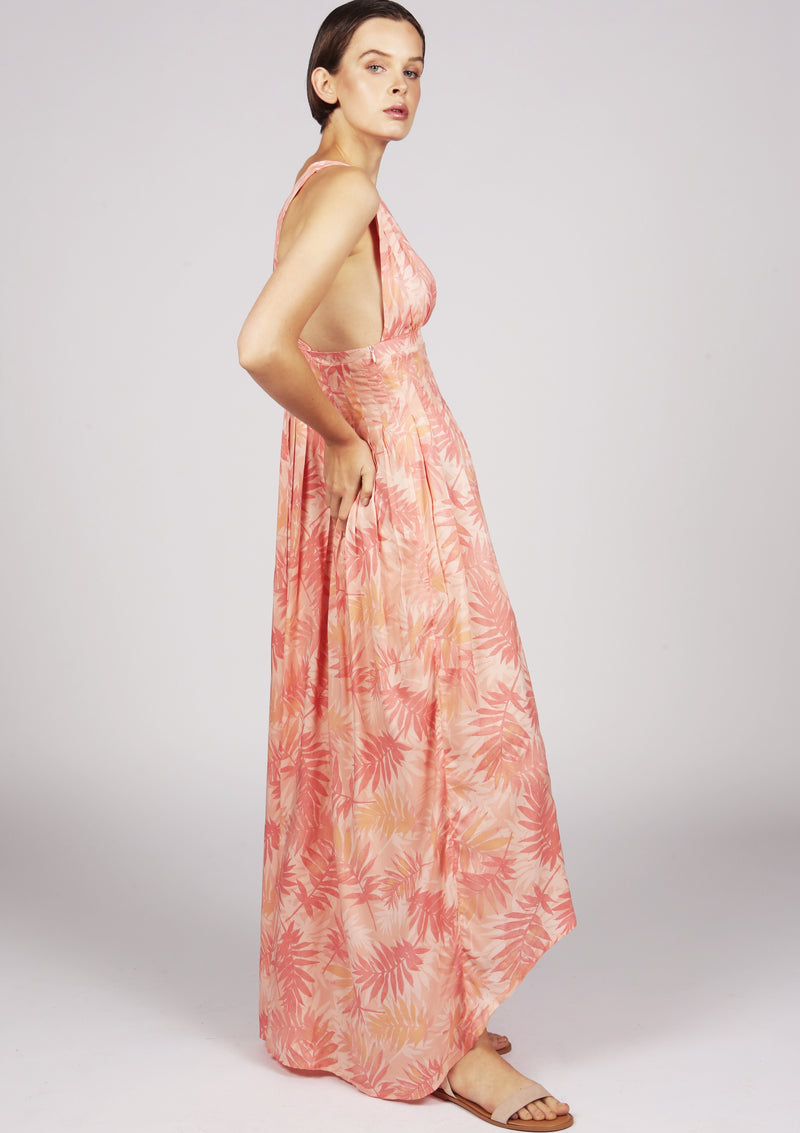 pleated salmon pink printed dress