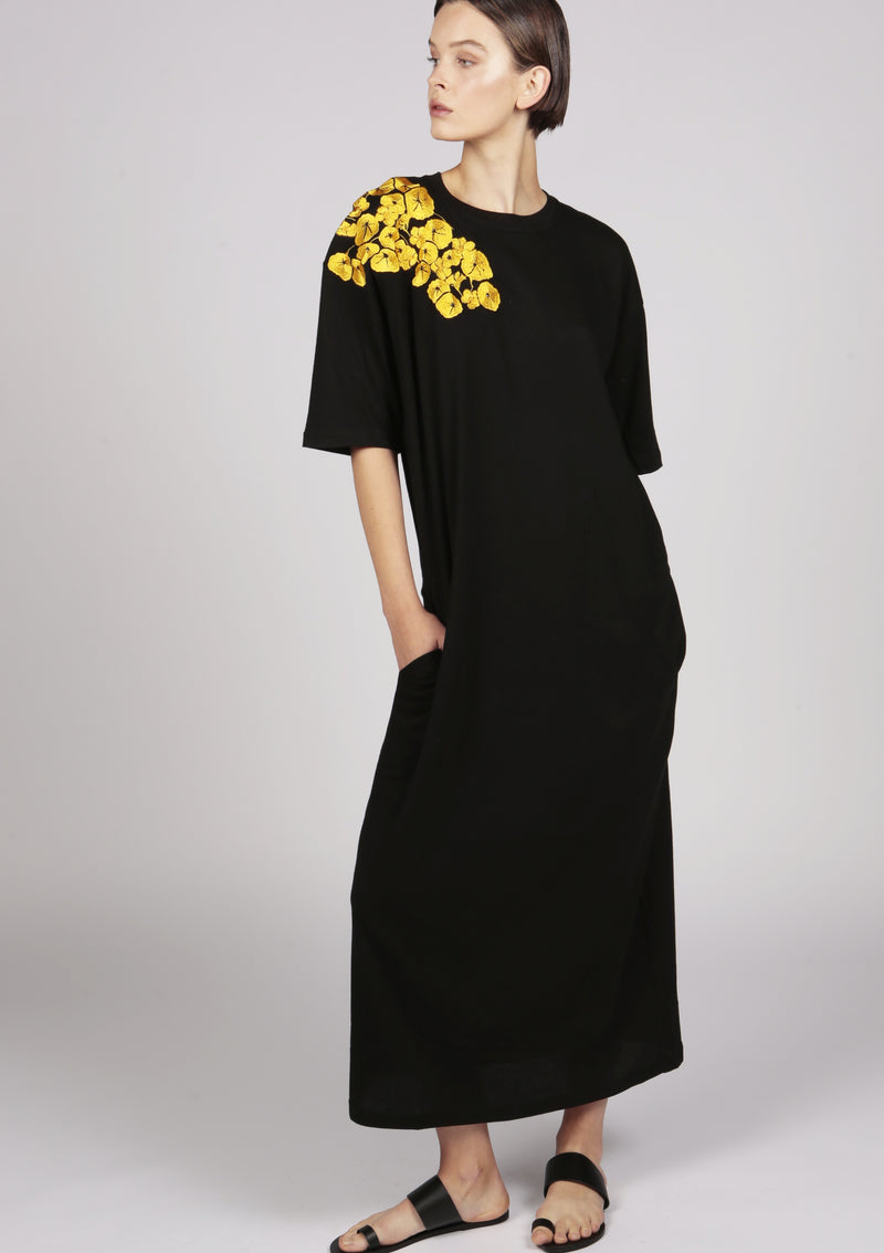 maxi t-shirt jersey in black with embroidery