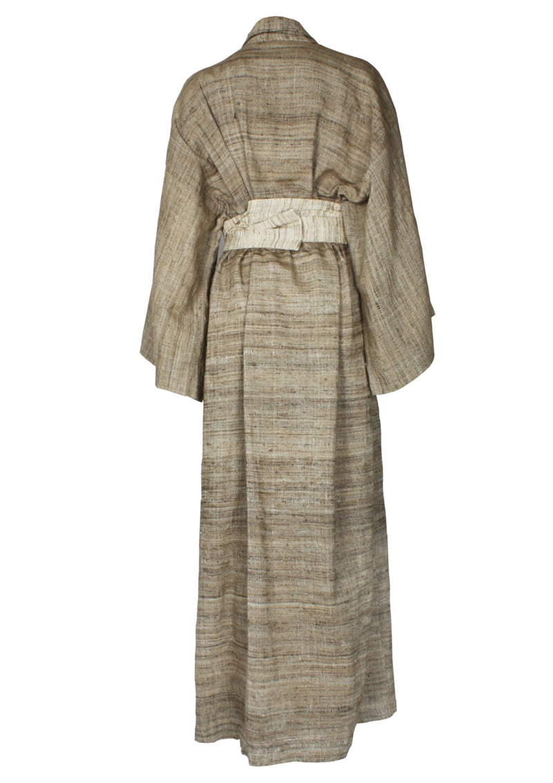 raw silk brown kimono style robe with belt
