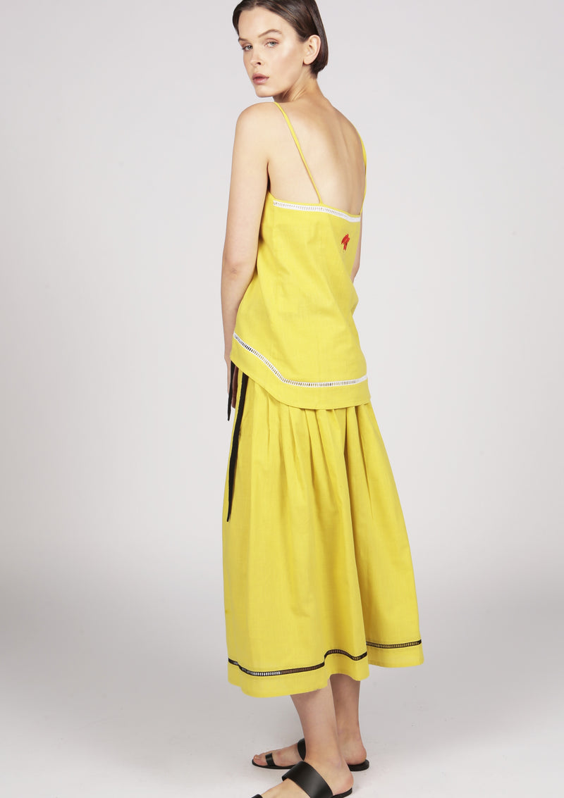 yellow camisole with handmade embroidery