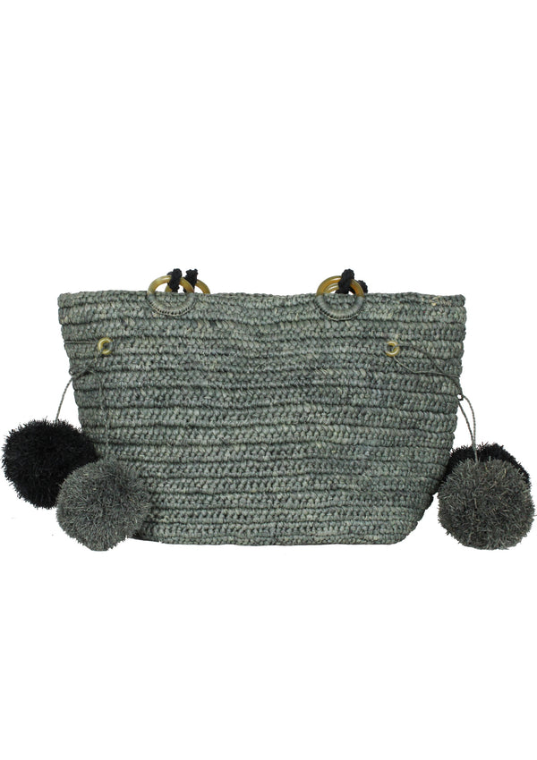 JUNE raffia beach tote bag with pompoms in grey