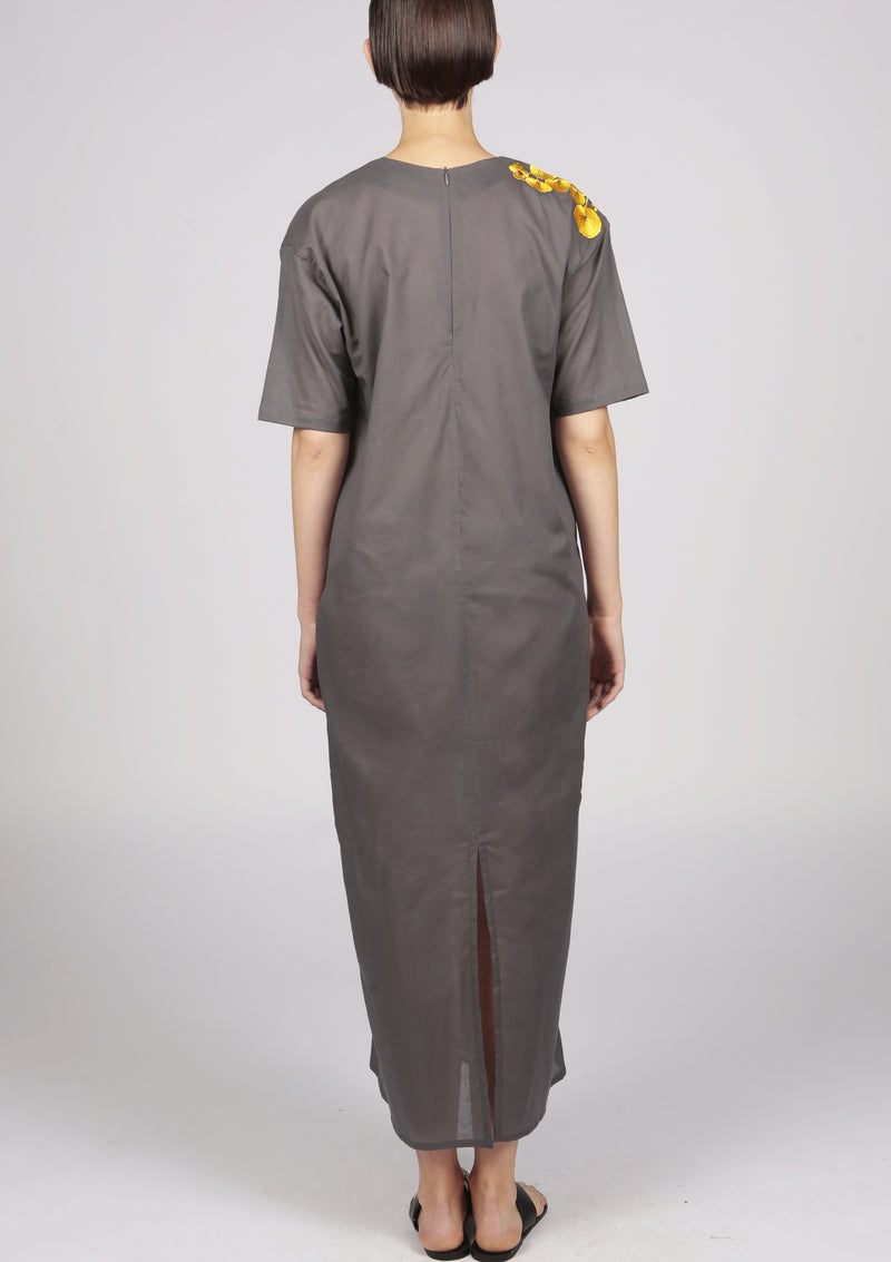 grey kaftan dress with embroidery