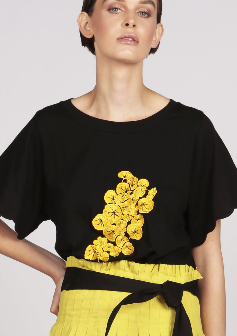IDEN black cotton-jersey floral embroidered T-shirt