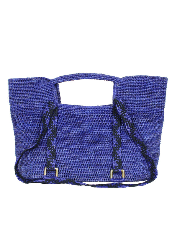 INES MS raffia shoulder bag in blue