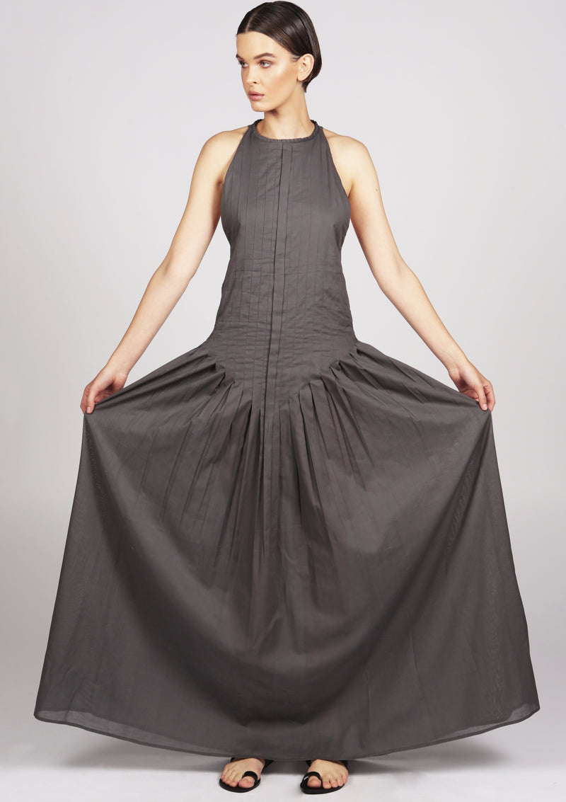 evening grey woman pleated dress