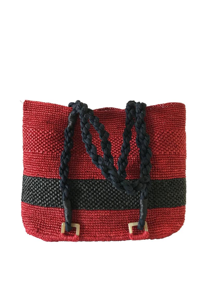 red raffia bag with black stripe for holiday