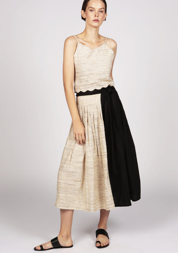 silk and cotton midi pleated skirt