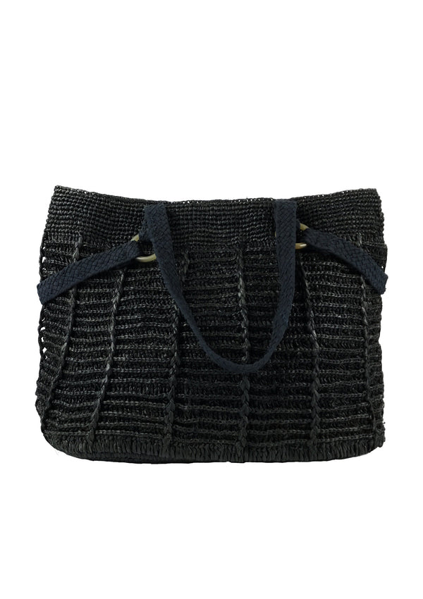 Magalie raffia shoulder bag in Brown or black