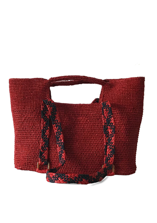 shoulder raffia bag in red