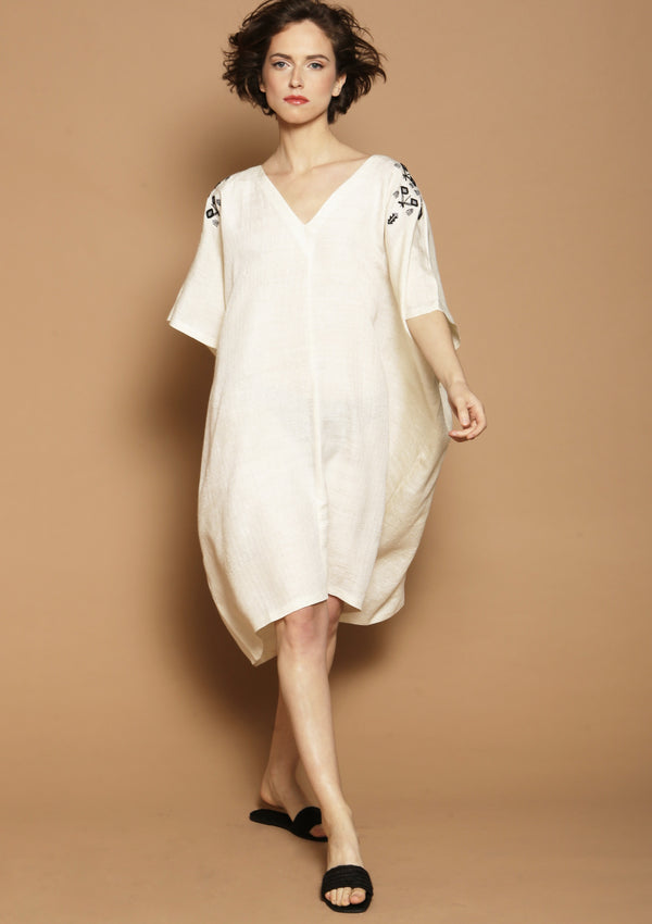 beige beach cover-up dress