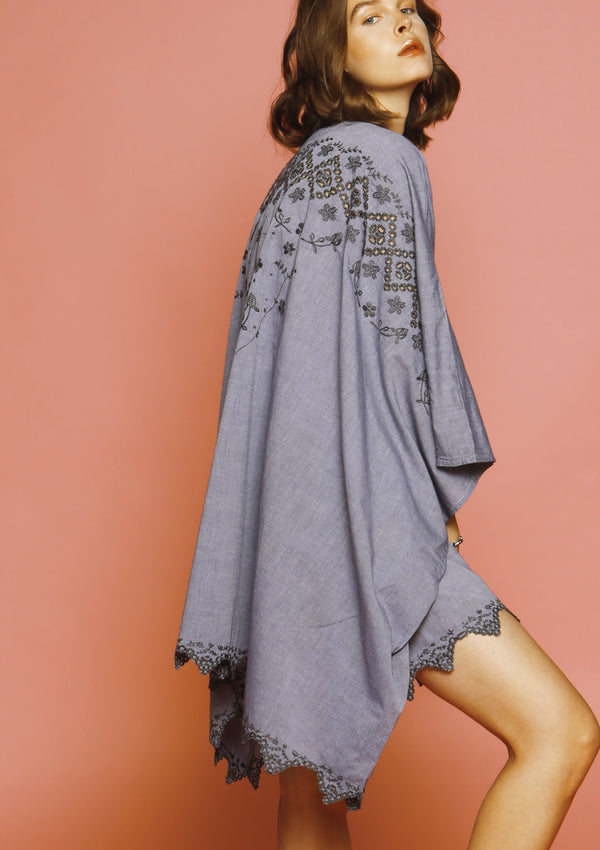 grey cotton embroidered dress