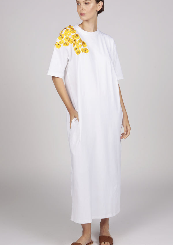 white maxi jersey t-shirt dress