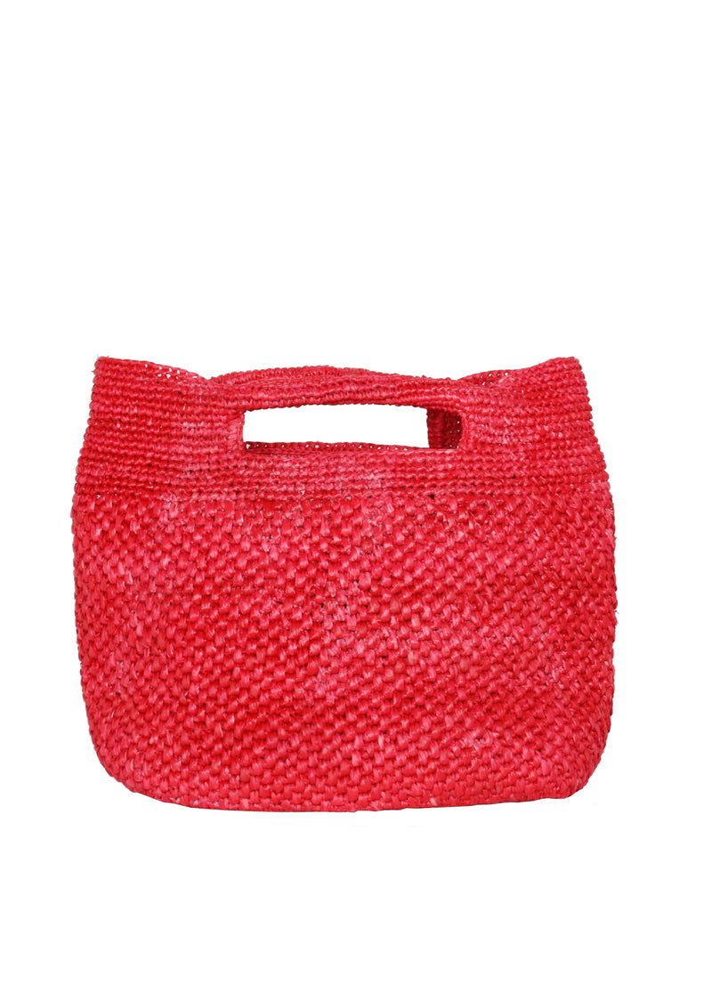 red raffia tote bag