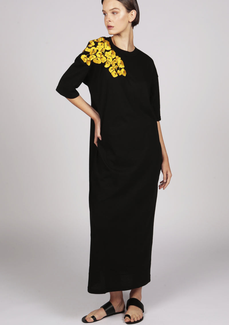 black t-shirt dress with golden embroidery