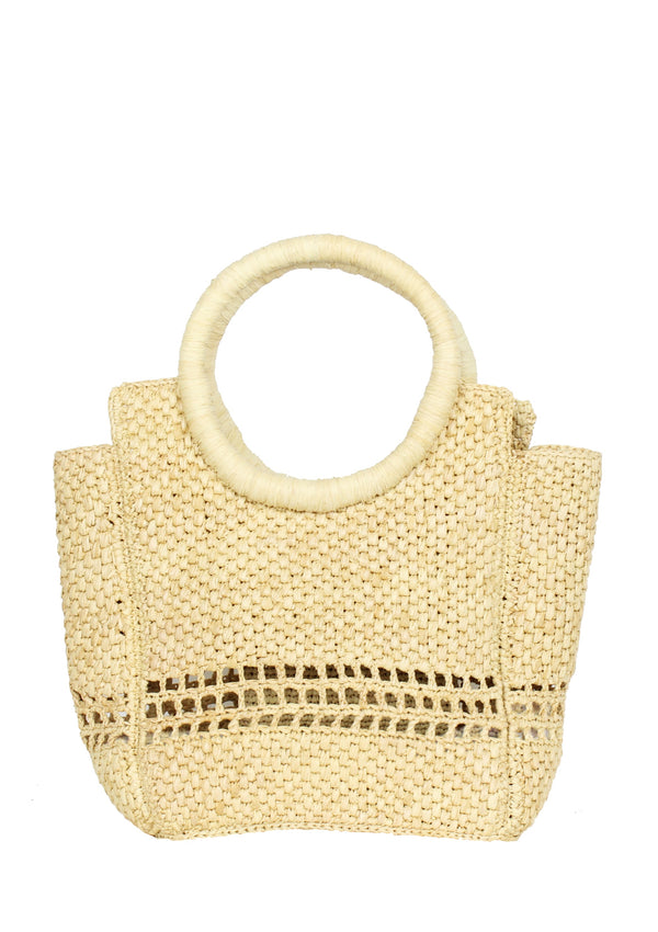 ROSETTE small raffia tote bag in natural beige