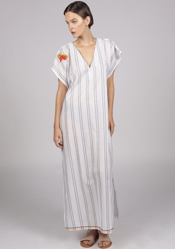 embroidered white and green striped kaftan dress