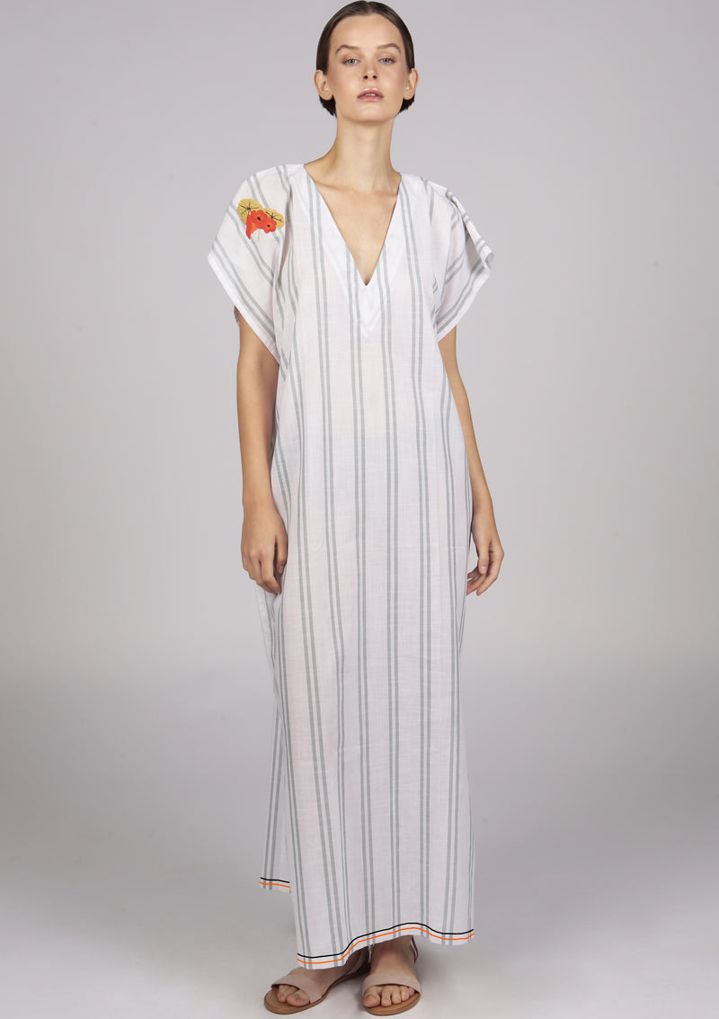 white striped embroidered beach dress