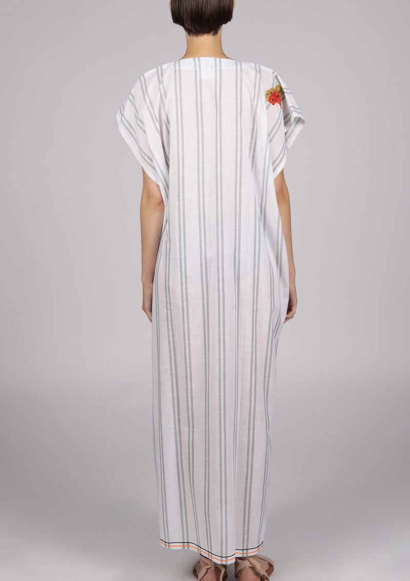 designer white striped beach dress