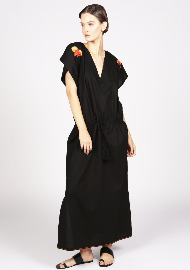 embroidered black kaftan dress with drawstring