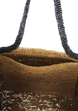 ERINA brown raffia tote bag with pompom tassels