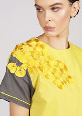 embroidered dress in yellow ethically made
