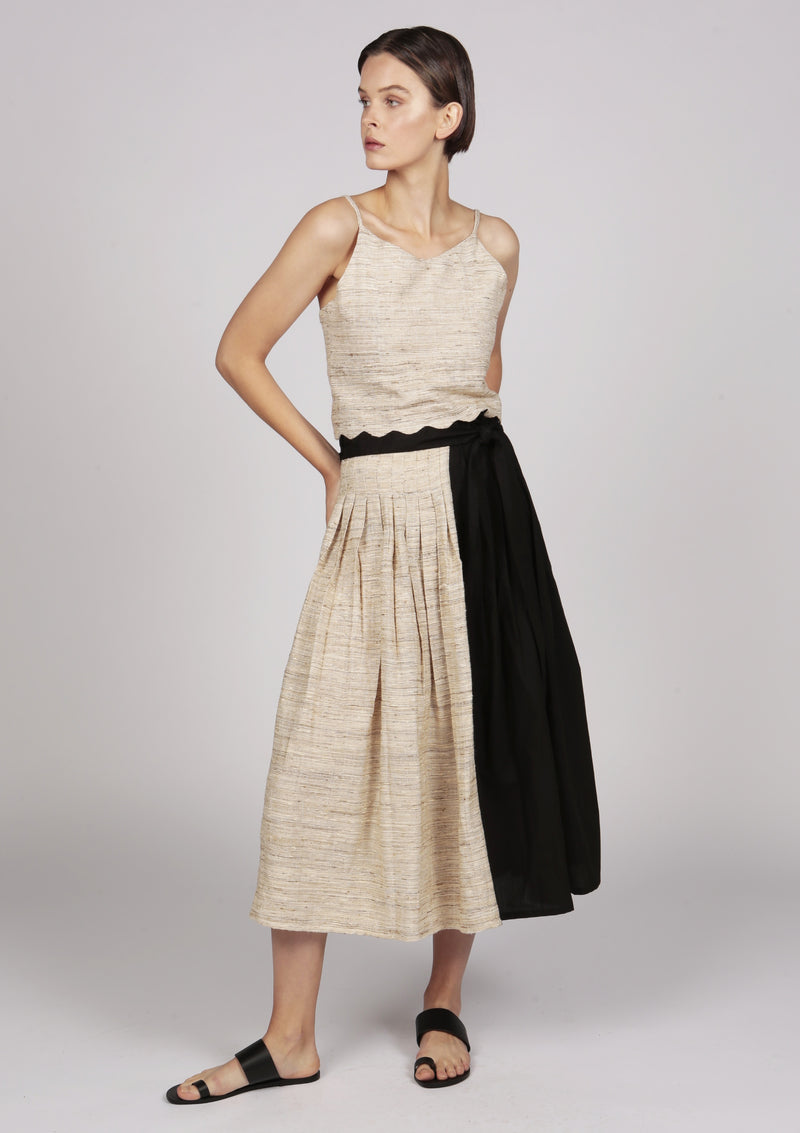 silk midi pleated skirt