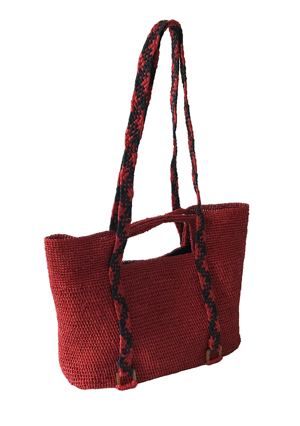 red shoulder bag designed in london