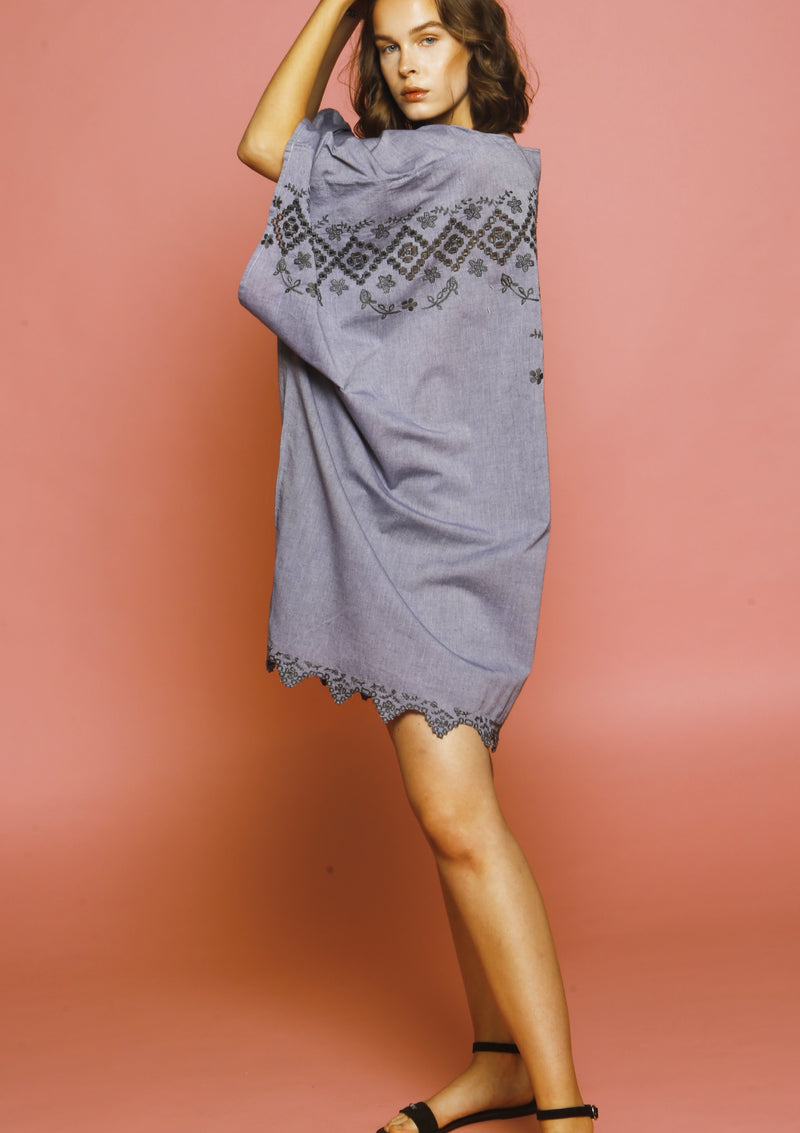 Grey short beach dress resort wear