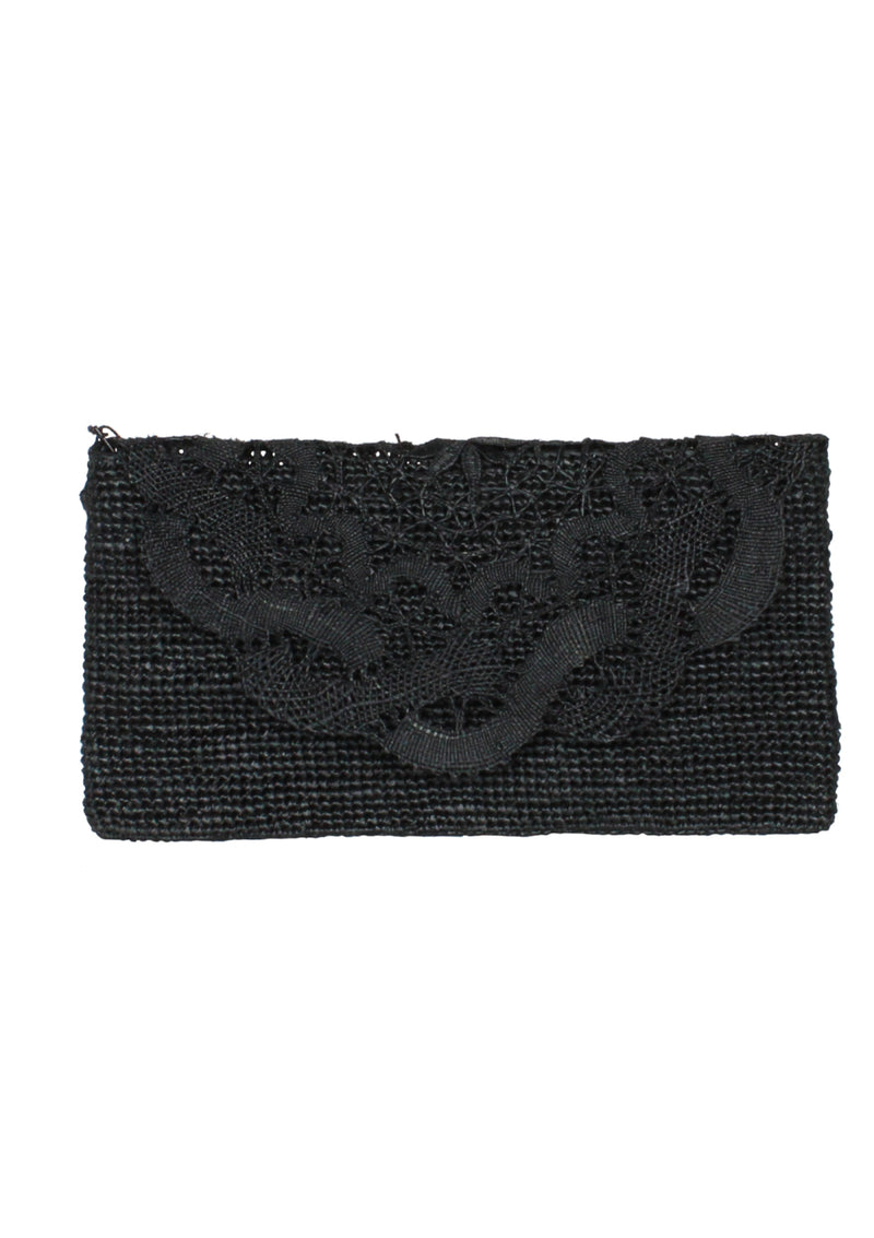 black british designer raffia clutch