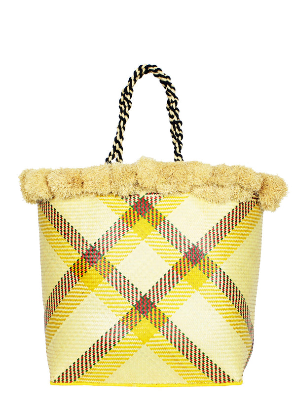 DELHIA large straw basket with pompoms in yellow and natural