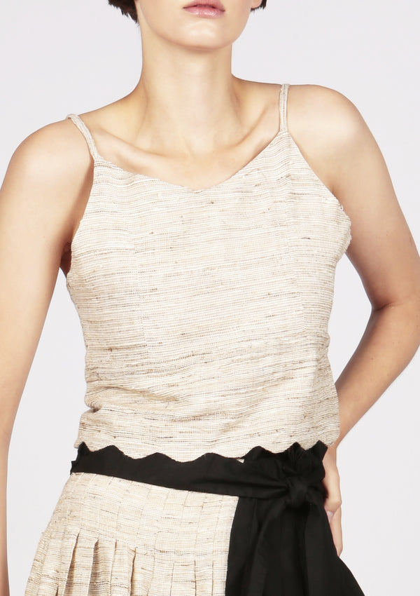 brown raw silk top