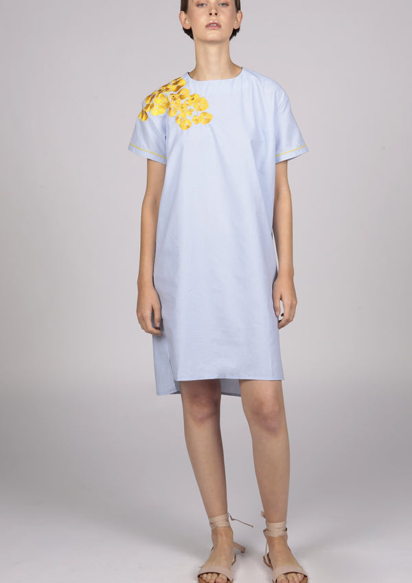 embroidered designer blue poplin dress