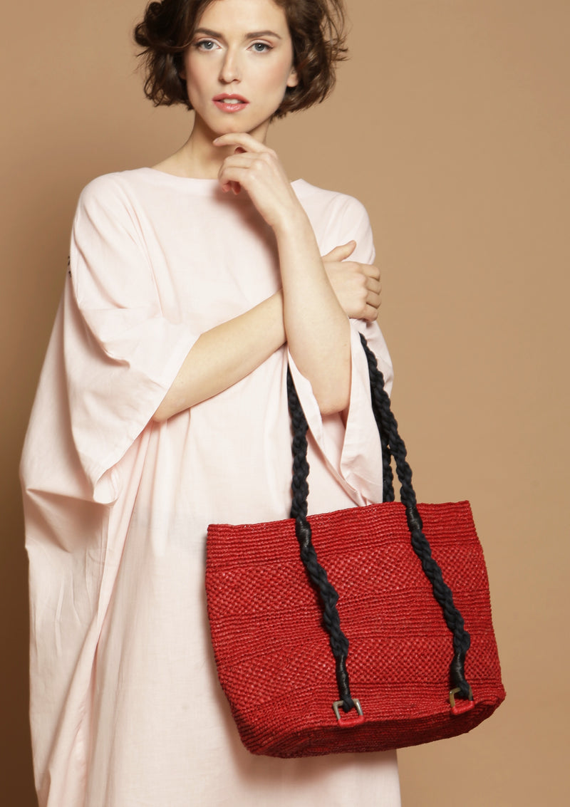 medium red raffia beach tote bag